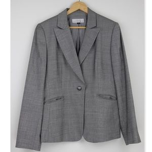 Tahari Light Gray One Button Blazer Size10 A9